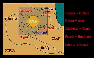 The four rivers of Eden, home of Adam
